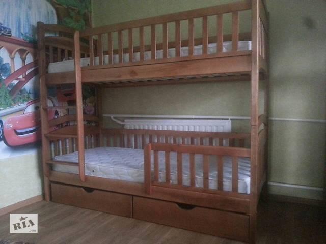 купить бу Двухъярусная кровать Карина Люкс с Ортопедическими матрасами и с ящиками в любом цвете из натурального дерева в Киеве