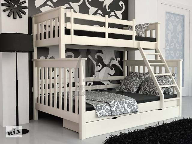 купить бу Двухъярусная кровать на три спальных места трансформер Жасмин с ольхи, новая, трехместная трехспальная в Киеве