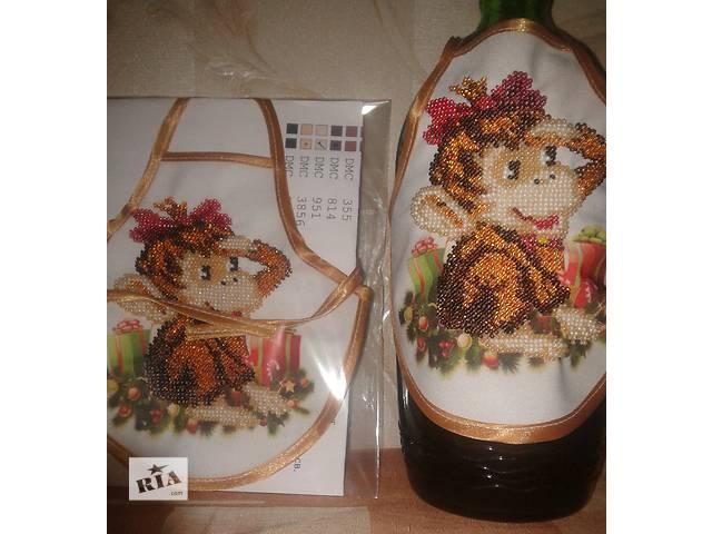 Фартук на бутылку 2016 обезьянка биссер Новогоднее оформление бутылки - объявление о продаже  в Киеве