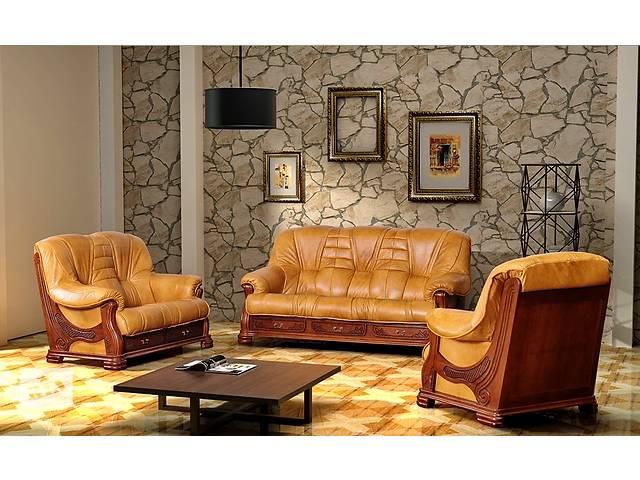 Новый комплект; кожаный диван и кресло Boss. Фабричное производство, кожаная мебель, набор.- объявление о продаже  в Луцке