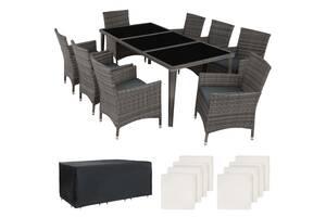 Обідній стіл і стільці Monaco темно-сірий, чорний, коричневий