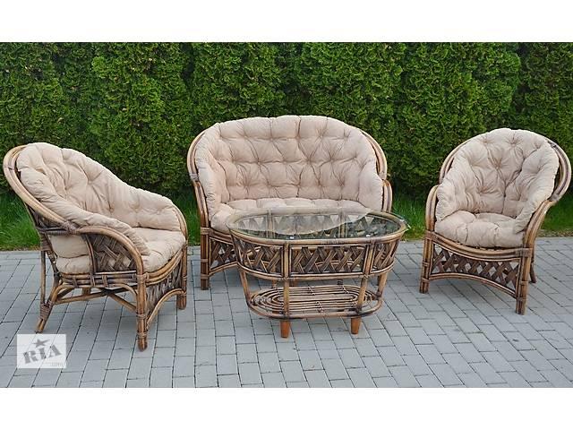 продам Садовый набор ротанговой мебели Diego GOLD античный беж 1 диван, 2 кресла, 1 стол бу в Львове