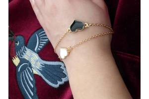 Браслет на руку цепочка с сердцем набор 2 цвета