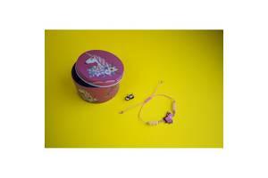 Браслет с кулоном Единорог в комплекте с серьгами-гвоздиками E&D 9740ED светло-розовый