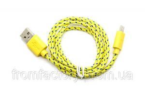 Кабель Lightning/USB (1м, разные цвета) тканевой:Желтый