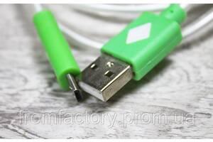 Кабель USB to micro USB (с подсветкой наконечников, 1 м):Зеленый