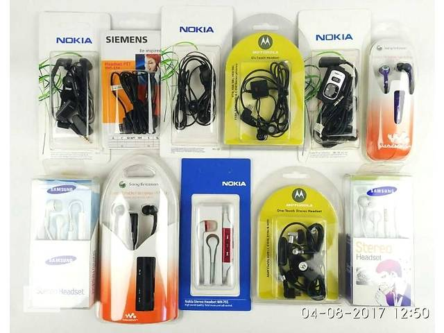 бу Наушники (гарнитуры) Nokia, Sony-Ericsson, Samsung, Motorola, Siemens в Києві