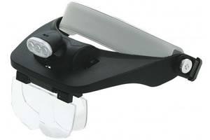 Лупа бинокулярная ( Бинокуляр ) 81001-E налобная  с подсветкой, 1,2Х1,8Х2,5Х3,5Х кратное увеличение