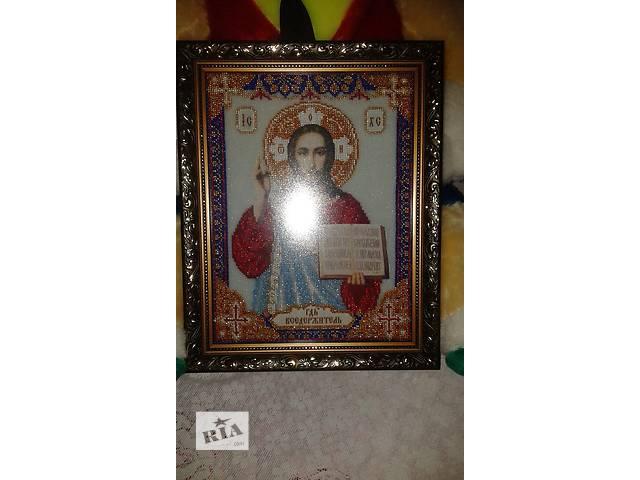 бу икона из бисера в рамке под стеклом в Тростянце (Винницкой обл.)