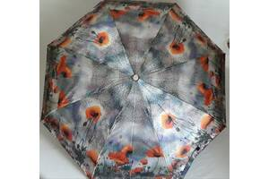"""Зонт женский Zest """"Маки"""", купол(102см) сатин, полный автомат, облегченный."""