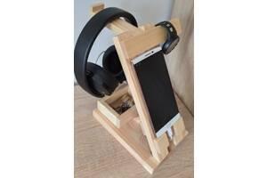 Подставка держатель для телефона планшета наушников часов деревянная