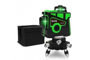 Лазерный уровень Hilda 3D 360V/360H/360H нивелир стяжка на 12 линий ☀ Зеленый луч