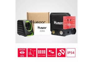 Лазерный уровень Huepar BOX-1R нивелир 2 красные линии + кронштейн и батарейки