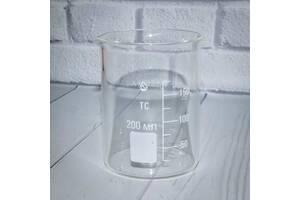 Стакан мірний Н-1-200 ТС низький з носиком зі шкалою V-200 мл ГОСТ 25336-82 з термічно стійкого скла (mdr_5332)