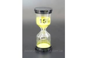 """9290185 Песочные часы """"Круг"""" стекло + пластик 15 минут Желтый песок"""