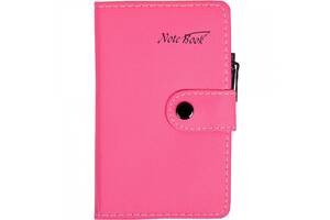 Блокнот 15*9см с ручкой в обложке кож/зам, клетка 6360 (Тёмно-Розовый)