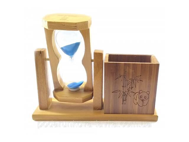 купить бу Часы песочные с подставкой для ручек синий песок 19х15х5,5 см 32235 в Киеве