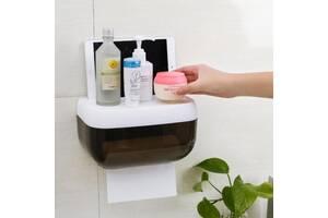 Пластиковый органайзер-держатель для туалетной бумаги с полочкой SKL32-290147