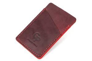 Винтажный кожаный картхолдер GRANDE PELLE 11504 Бордовый