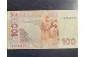 100 грн.,редкий номер 0666666