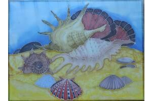 Батик картина подводный мир (живопись) роспись по ткани