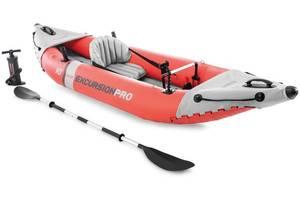Байдарка одноместная надувная Intex 68303 305 x 91 x 46 см Excursion Pro K1 Kayak Red алюминиевые весла и ручной насо...