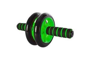 Домашний тренажер двойное колесо для пресса Profi диаметр 14 см., зеленое
