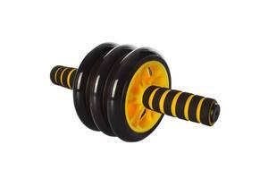 Домашний тренажер тройное колесо для пресса Profi диаметр 14 см., желтое