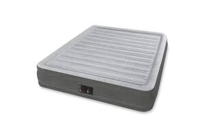 Двоспальне надувна флокірована ліжко Intex 64414 з вбудованим насосом 220V (203*152*46 см) Код товару: 64414
