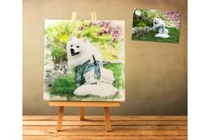 Дизайн и печать картин 50х50 см в акварельном стиле на холсте (картины по Вашей фотографии)