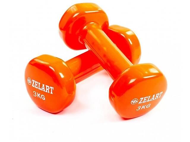 Гантели для фитнеса с виниловым покрытием Zelart Beauty TA-5225-3 (2x3кг), оранжевый- объявление о продаже  в Дубно
