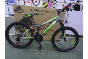 """Горный подростковый велосипед Azimut Forest 24""""D стальная рама 12,5""""серый, черный"""