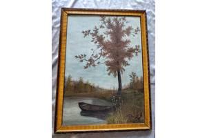 Картина Осенняя охота Коржиков В. И. 1955 г Размер 58 см на 83 см.