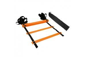Координационная лестница Sprinter 6 м толщина ступеней 4 мм дорожка для тренировки скорости Оранжевый (spr_39053)