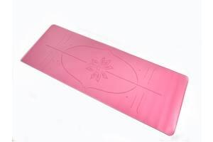 Коврик для йоги PU 183 х 68 х 0,4 см с разметкой розовый