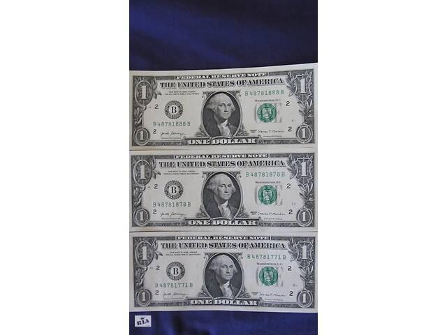 Купюра коллекционная 1 доллар США с красивыми номерами на Подарок
