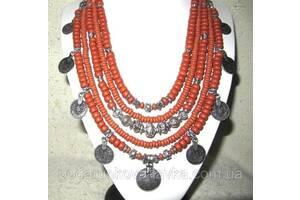 Багатоярусне намисто з монетами, сережки - кераміка