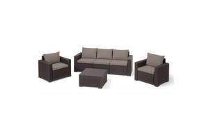 Набор садовой мебели Allibert California 3 seater коричневый (17198931)