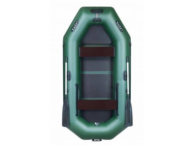 Надувная лодка Ладья ЛТ-270ЕВБ двухместная гребная с веслами и передвижным сиденьем 2.7 м слань-книжка (lad_ЛТ-270ЕВБ)