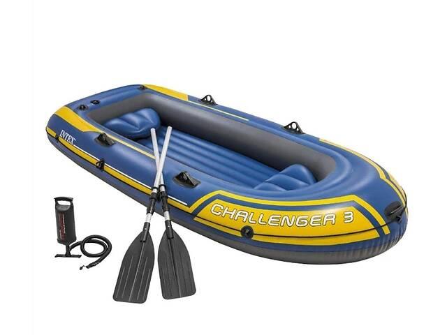 купить бу Надувная трехместная лодка с надувным дном, веслами и ручным насосом в комплекте 68370 NP Challenger 3 в Львові