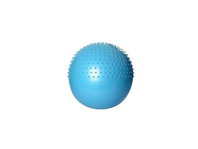 Надувной гимнастический мяч для фитнеса (фитбол) полумассажный PROFI BALL, диаметр - 65 см., голубой