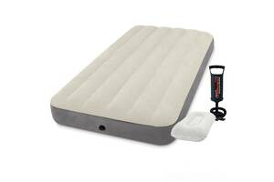 Надувной матрас Одноместный Intex 64101-2, 99 х 191 х 25 см. с насосом и подушкой Бежевый (hub_eklizf)
