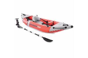 Одноместная надувная лодка байдарка EXPLORER Intex 68303 NP, с алюминиевыми веслами, насосом и сумкой