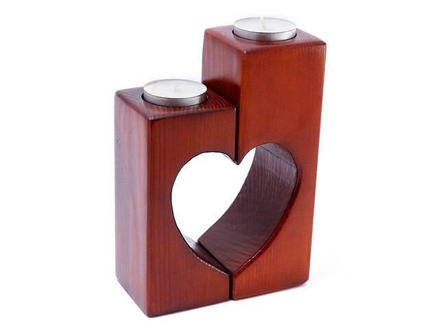 Підсвічник з дерева на 2 свічки таблетки - серце з двох половин- объявление о продаже  в Києві