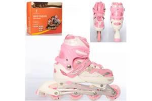 Роликовые коньки (ролики) детские раздвижные A 4127-M-P, размер 36-39, розовый Код товара: 4127