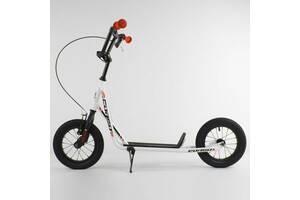 """Самокат детский """"Corso"""" надувные колеса 12"""" + ручной передний тормоз. White (86799)"""