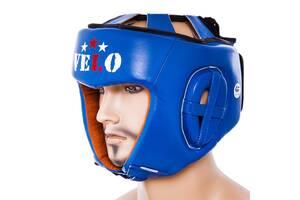 Шлем боксерский синий Velo AIBA, кожа, размер L