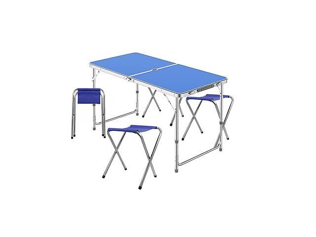 Стол складной с 4 стульями и отверстием для зонта Lanyu L-2-U Blue 120 см