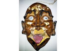 Страшна маска з білої глини Ручна робота вінтаж хенд мейд