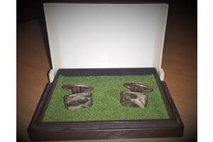 Уникальные Серебряные запонки с уральским МАЛАХИТОМ и ЯНТАРЕМ 1950 год